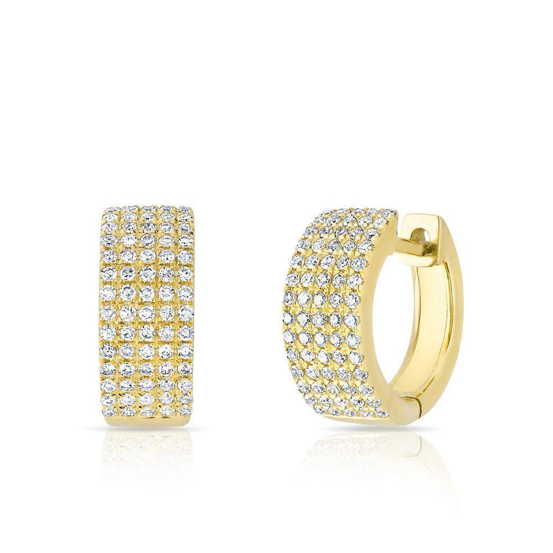 14KT Yellow Gold Diamond Pave Kiara Huggie Earrings