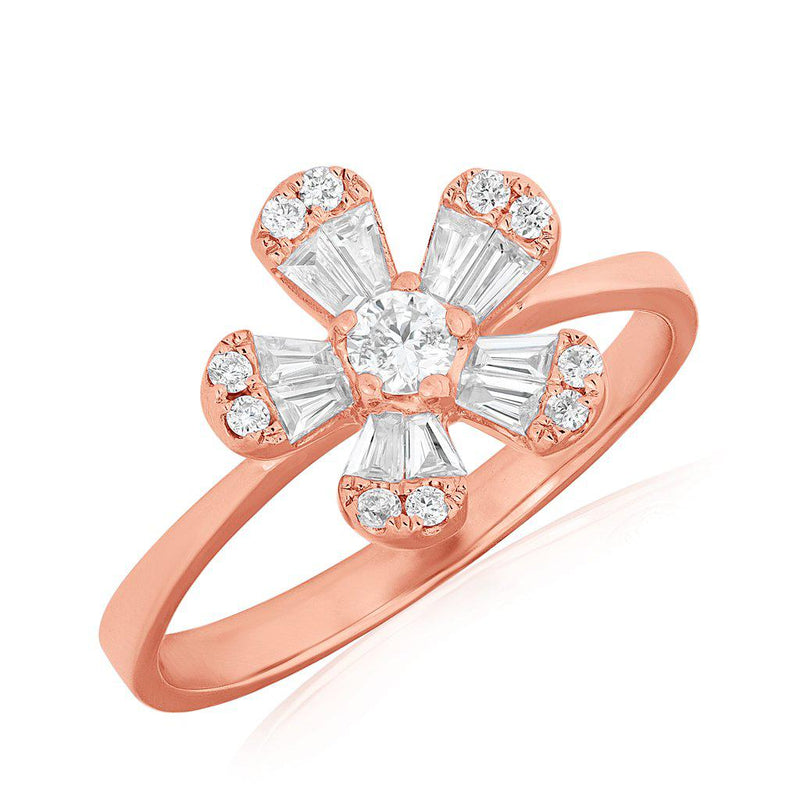 baguette flower daisy diamond ring