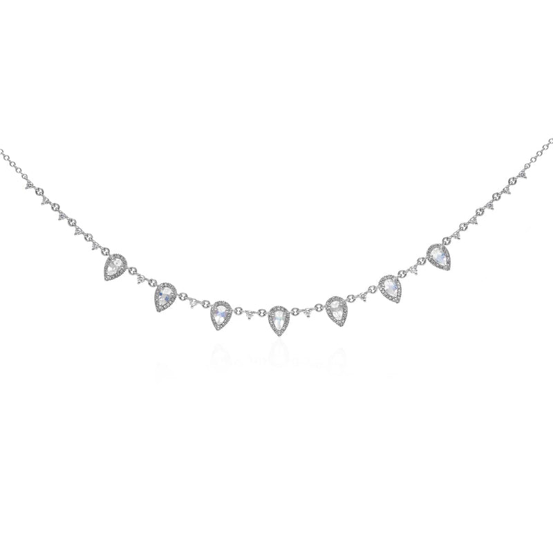 14KT White Gold Moonstone Diamond Aleigha Drop Necklace