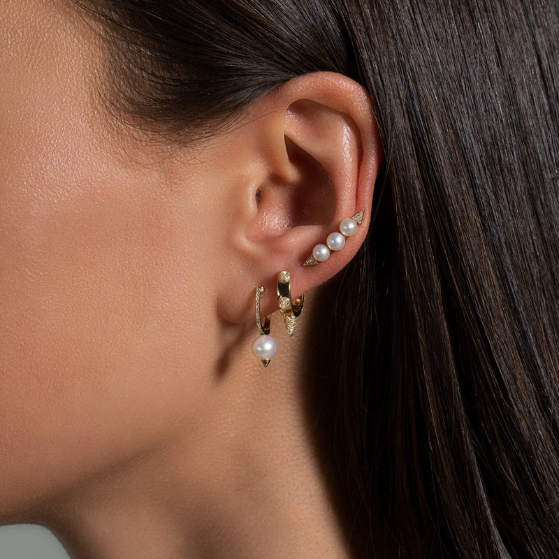 14KT Rose Gold Pearl And Diamond Ear Climber