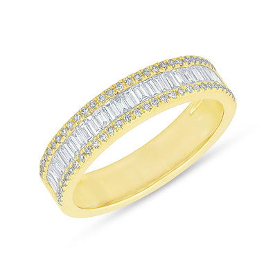14KT Yellow Gold Half Baguette Diamond Kate Band Ring