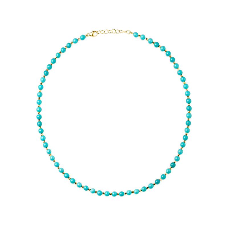 14KT Yellow Gold Turquoise Beaded Necklace