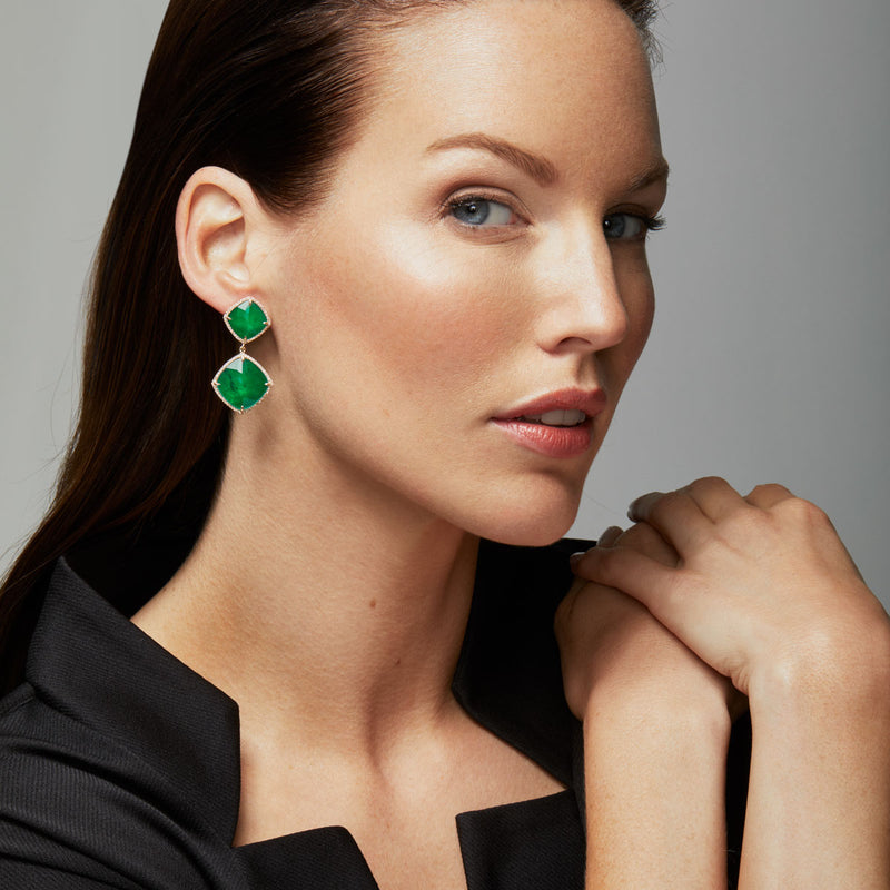 14KT White Gold Diamond Emerald Martine Earrings-Anne Sisteron