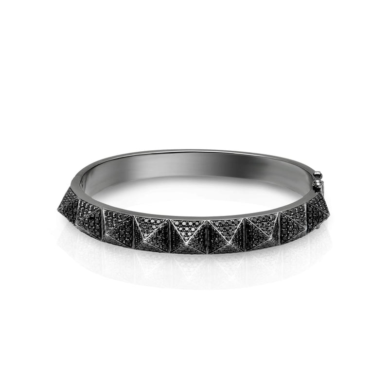 14KT Black Gold Black Diamond Harlow Spike Bangle Bracelet