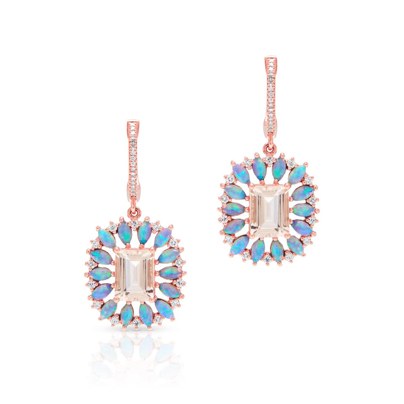 14KT Rose Gold Morganite Opal Diamond Giselle Earrings