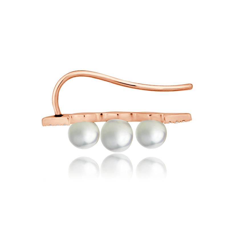 14KT Rose Gold Pearl And Diamond Ear Climber-Anne Sisteron