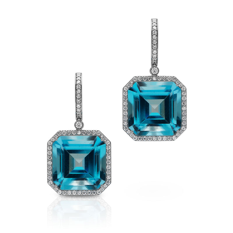 18KT White Gold Blue Topaz Diamond Luxe Augustina Earrings