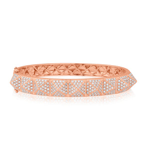 14KT Rose Gold Diamond Harlow Spike Bangle Bracelet