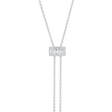 baguette diamond bolo lariat necklace