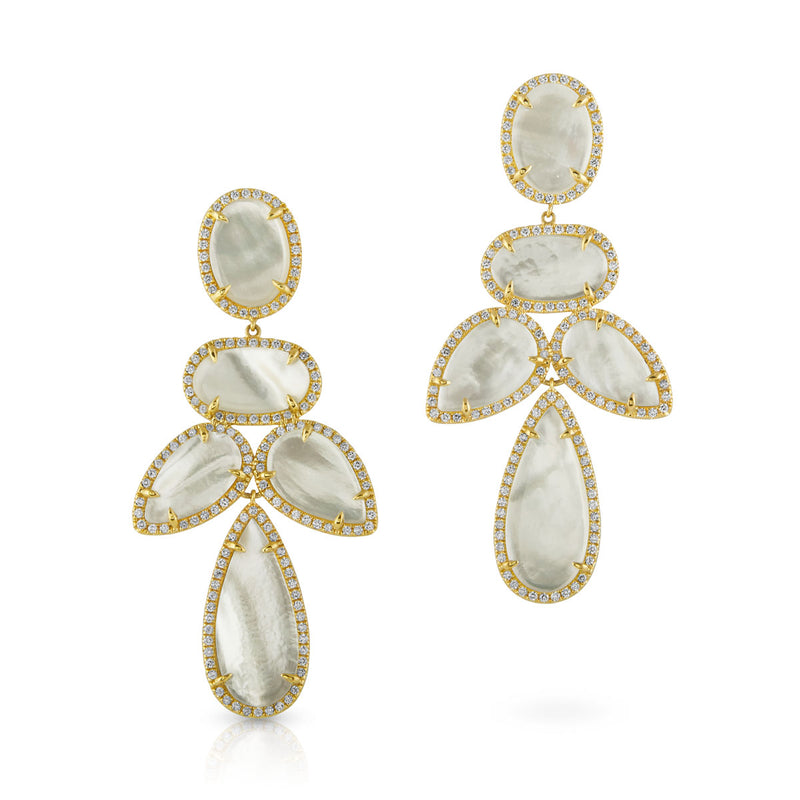 14KT Yellow Gold Mother of Pearl Diamond Bellissima Earrings