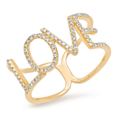 14KT Yellow Gold Diamond Love Note Ring