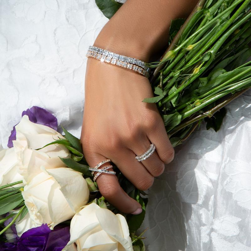 14KT Yellow Rose and White Gold Diamond Baguette X Ring