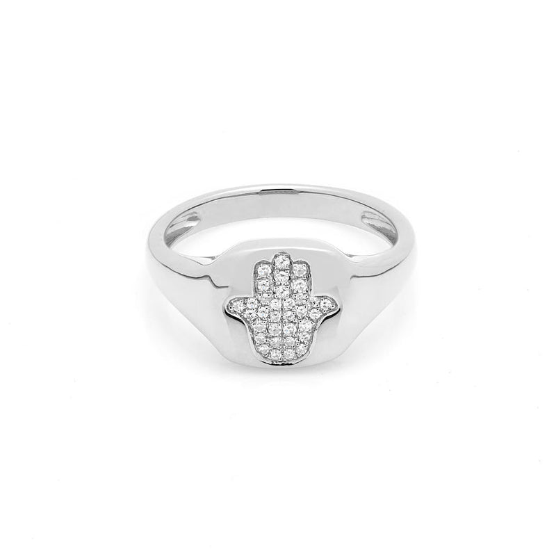 14KT White Gold Diamond Hamsa Pinkie Ring