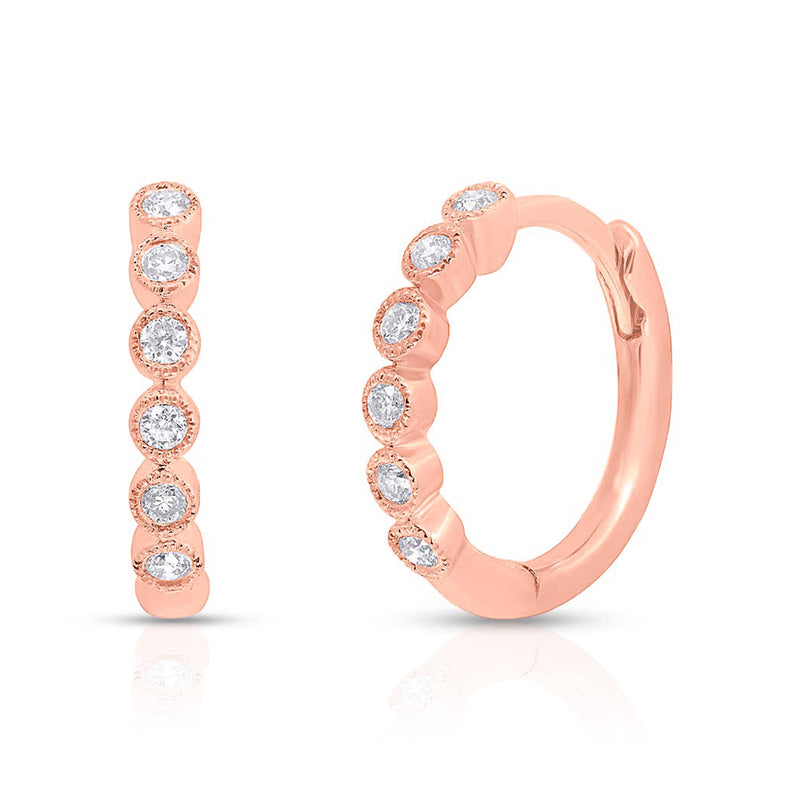14KT Rose Gold Diamond Hazel Bezel Huggie Earrings