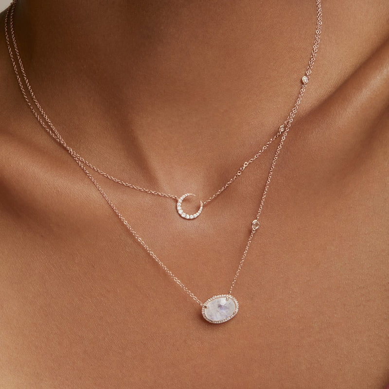 14KT Rose Gold Organic Moonstone Diamond Orbit Necklace-Anne Sisteron
