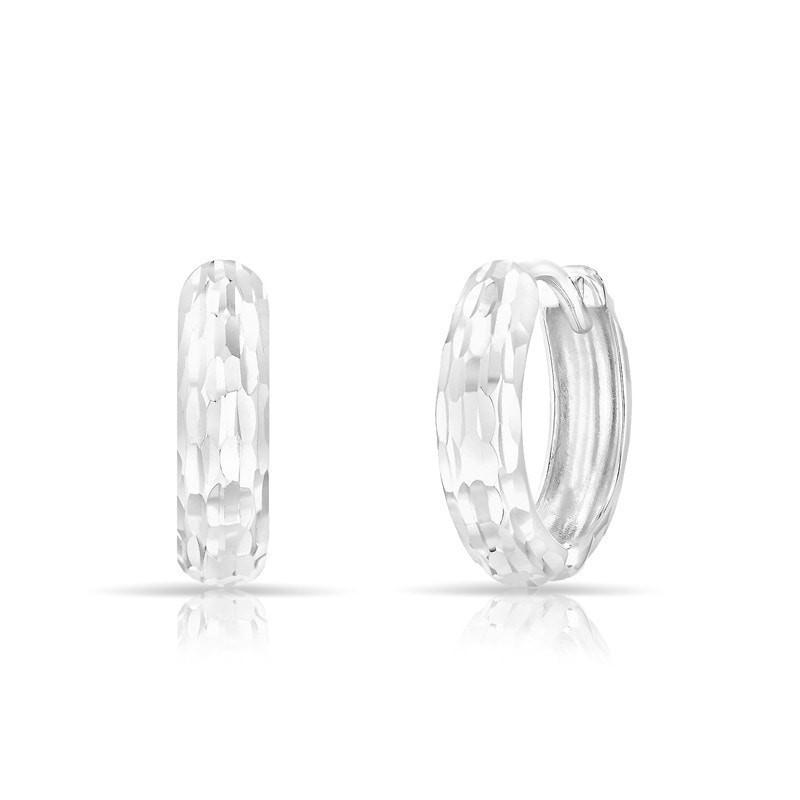 14KT Solid White Gold Sleek Faceted Huggie Earrings