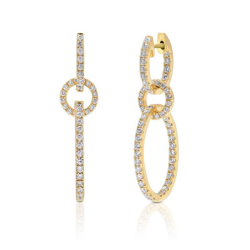 14KT Yellow Gold Diamond Double Chain Link Earrings