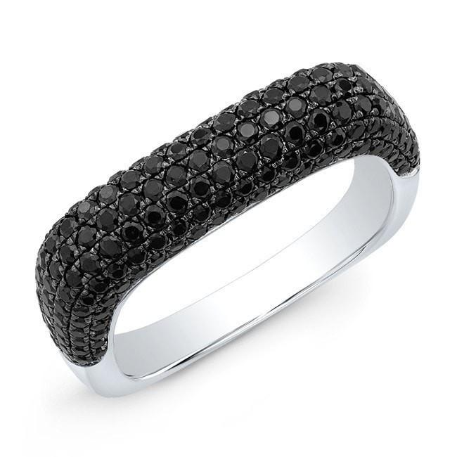 14KT White Gold Black Spinel Square Ring