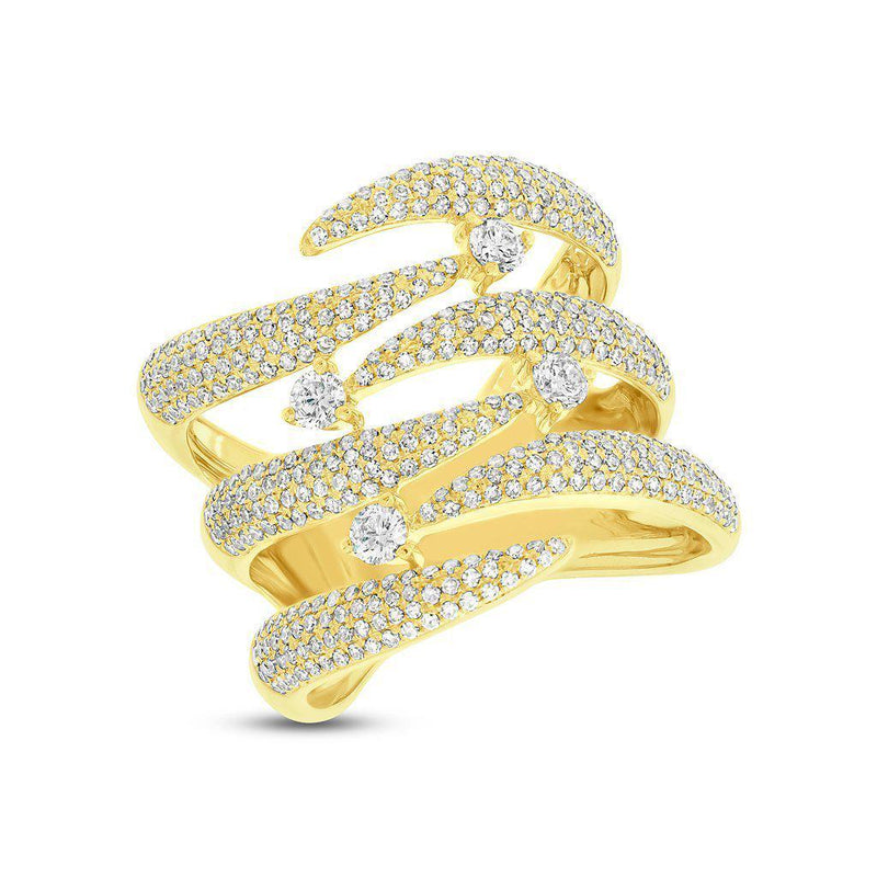 14KT Yellow Gold Diamond Flame Tip Ring