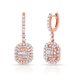 14KT Rose Gold Baguette Diamond Kelly Earrings