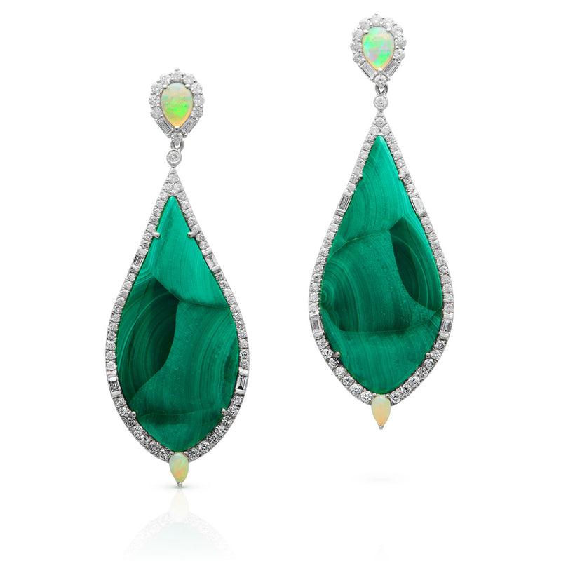 18KT White Gold Diamond Malachite and Opal Hera Earrings