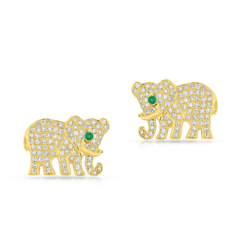 14KT Yellow Gold Diamond Emerald KAAP Elephant Earrings