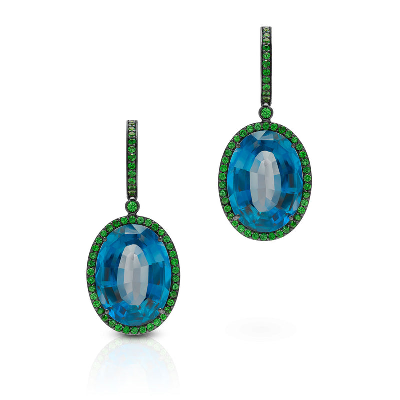 18KT White Gold London Blue Topaz Tsavorite Eudora Earrings
