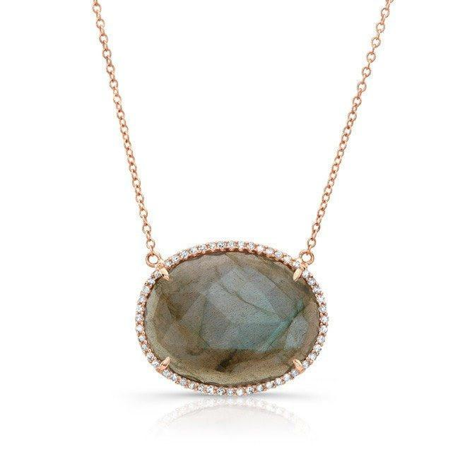 14KT Rose Gold Diamond Labradorite Oval Necklace