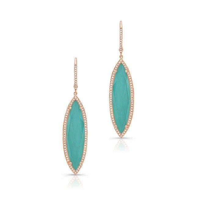 14KT Rose Gold Diamond Turquoise Turquesa Marquis Earrings