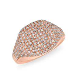 14KT Rose Gold Diamond Cushion Pinkie Ring
