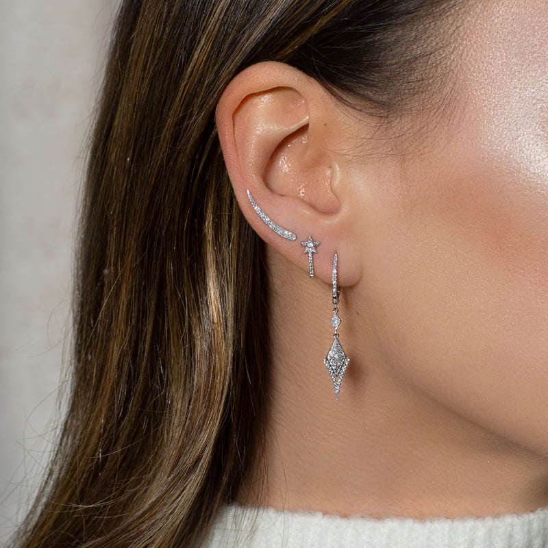 14KT White Gold Diamond Karma Ear Climber