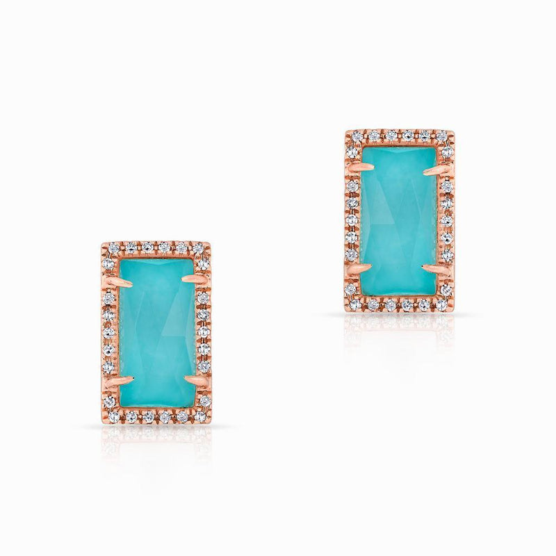 14KT Rose Gold Diamond Turquoise Sara Stud Earrings