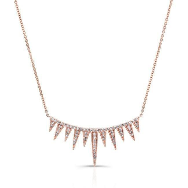 14KT Rose Gold Diamond Spiked Tiara Necklace