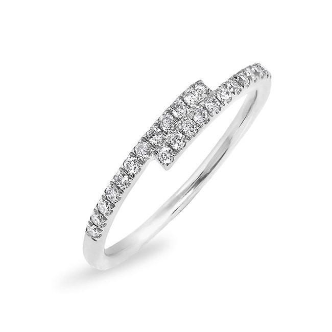 14KT White Gold Diamond Ridge Ring