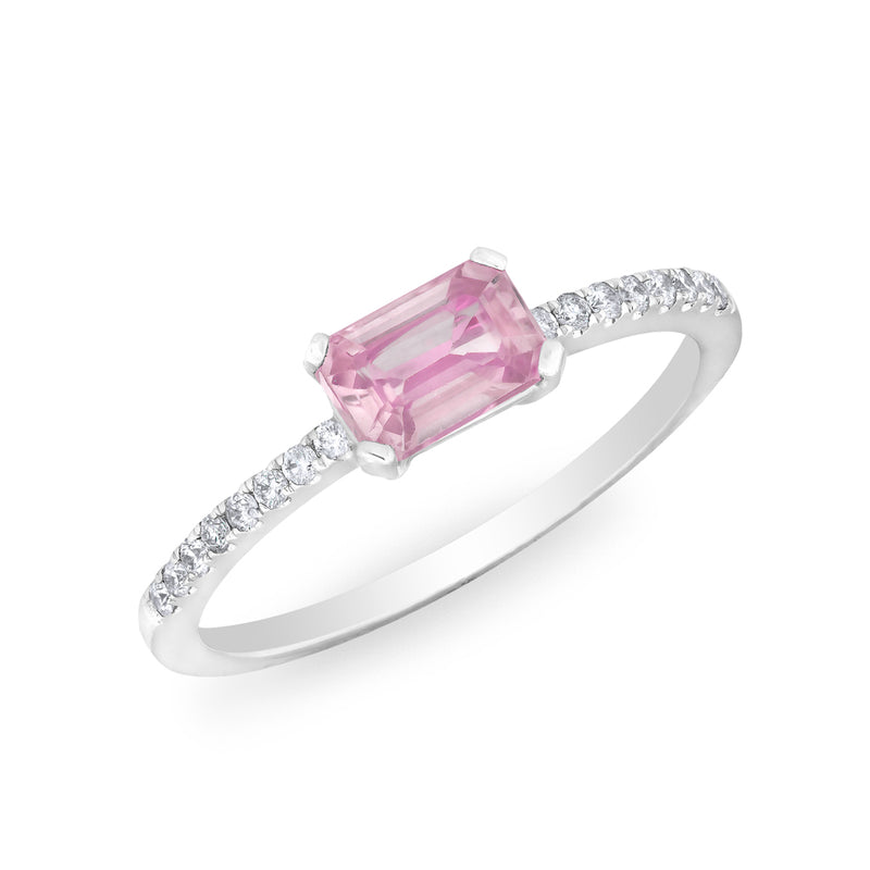 14KT White Gold Pink Sapphire Diamond Madeline Ring