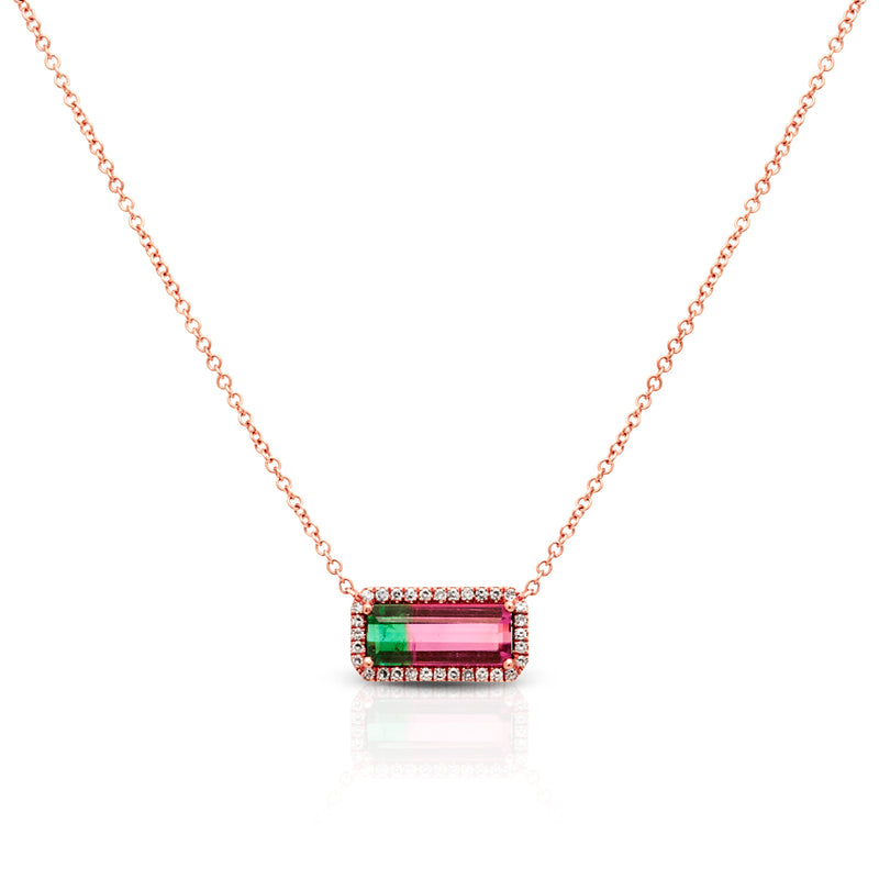 14KT Rose Gold Watermelon Tourmaline Short Diamond Bar Necklace