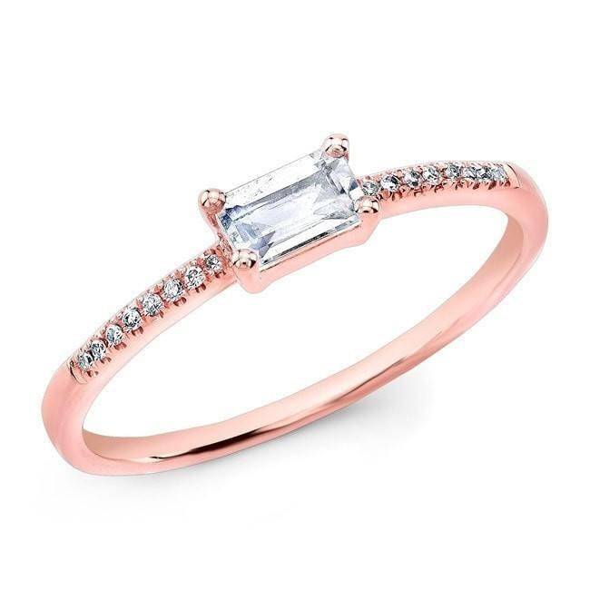 14KT Rose Gold Moonstone Diamond Maddie Ring
