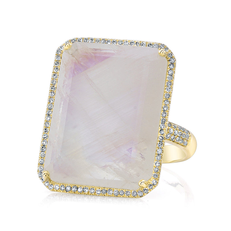 14KT Yellow Gold Moonstone Diamond Rectangle Cocktail Ring
