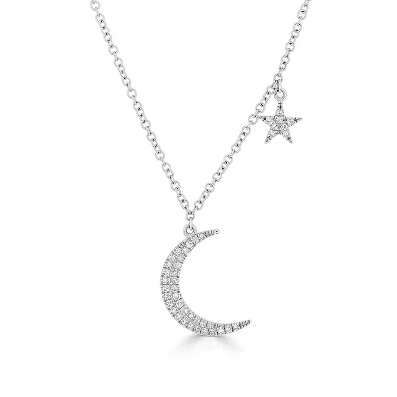 14KT White Gold Diamond Mini Moon and Star Necklace