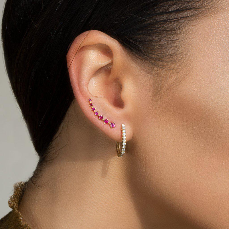 14KT Rose Gold Large Ruby Organic Ear Climber-Anne Sisteron