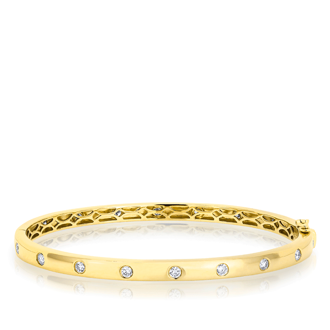 14KT Yellow Gold Sparkle Full Diamond Bangle Bracelet