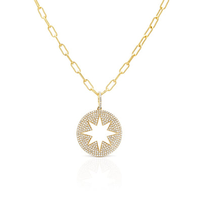 14KT Yellow Gold Diamond Open Starburst Charm