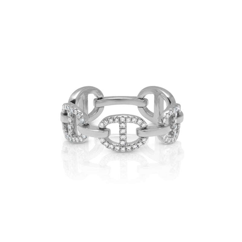 14KT White Gold Diamond Raven Chain Link Ring