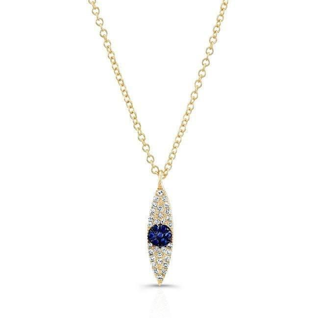 14KT Yellow Gold Diamond And Sapphire Evil Eye Pendant Necklace