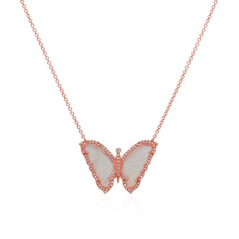 14KT Rose Gold Moonstone Diamond Butterfly Necklace