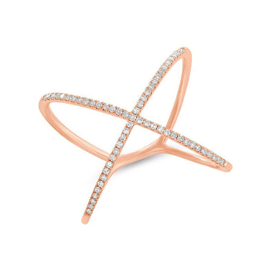14KT Rose Gold Diamond X Ring