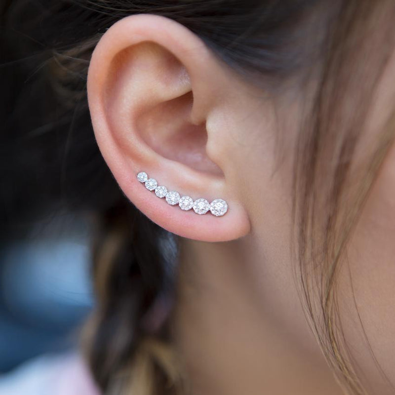 14KT White Gold Diamond Round Malia Ear Climber