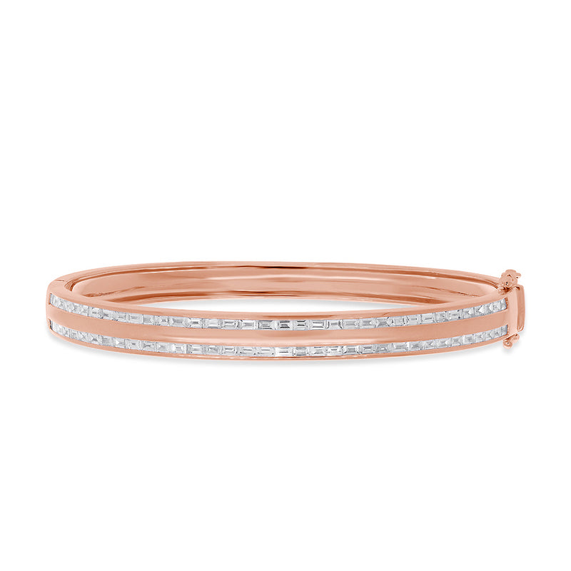 14KT Rose Gold Diamond Baguette Trimmed Bangle Bracelet
