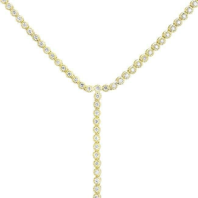 14KT Yellow Gold Diamond Leash Necklace-Anne Sisteron