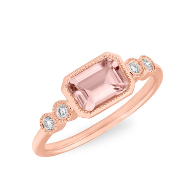 14KT Rose Gold Morganite and Bezel Diamond Ring